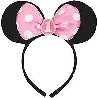 [Amscan]Amscan Minnie Mouse 1st Birthday Headband, Black/Pink AMI 251139 [並行輸入品]