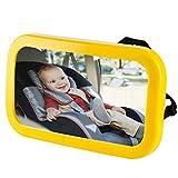 車用ベビーミラー Hoshiki 飛散防止 角度 方向調節可能 インサイトミラー アクリル鏡面 子供カー用品 赤ちゃんミラー(反射ステッカー付き)