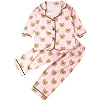 AUESTIE Kids Pajamas Set 2Pcs Children Silk Satin Long Sleeve Sleepwear Toddler Button-Down Nightwear