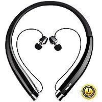 Bluetooth ネックバンドイヤホン スポーツヘッドホン ワイヤレス イヤホン カナル 高音質 Bluetooth4.1搭載 CVC 6.0ノイズキャンセリング ハンズフリー 通話 マイク付き ワイヤレスヘッドセット (ブラック)