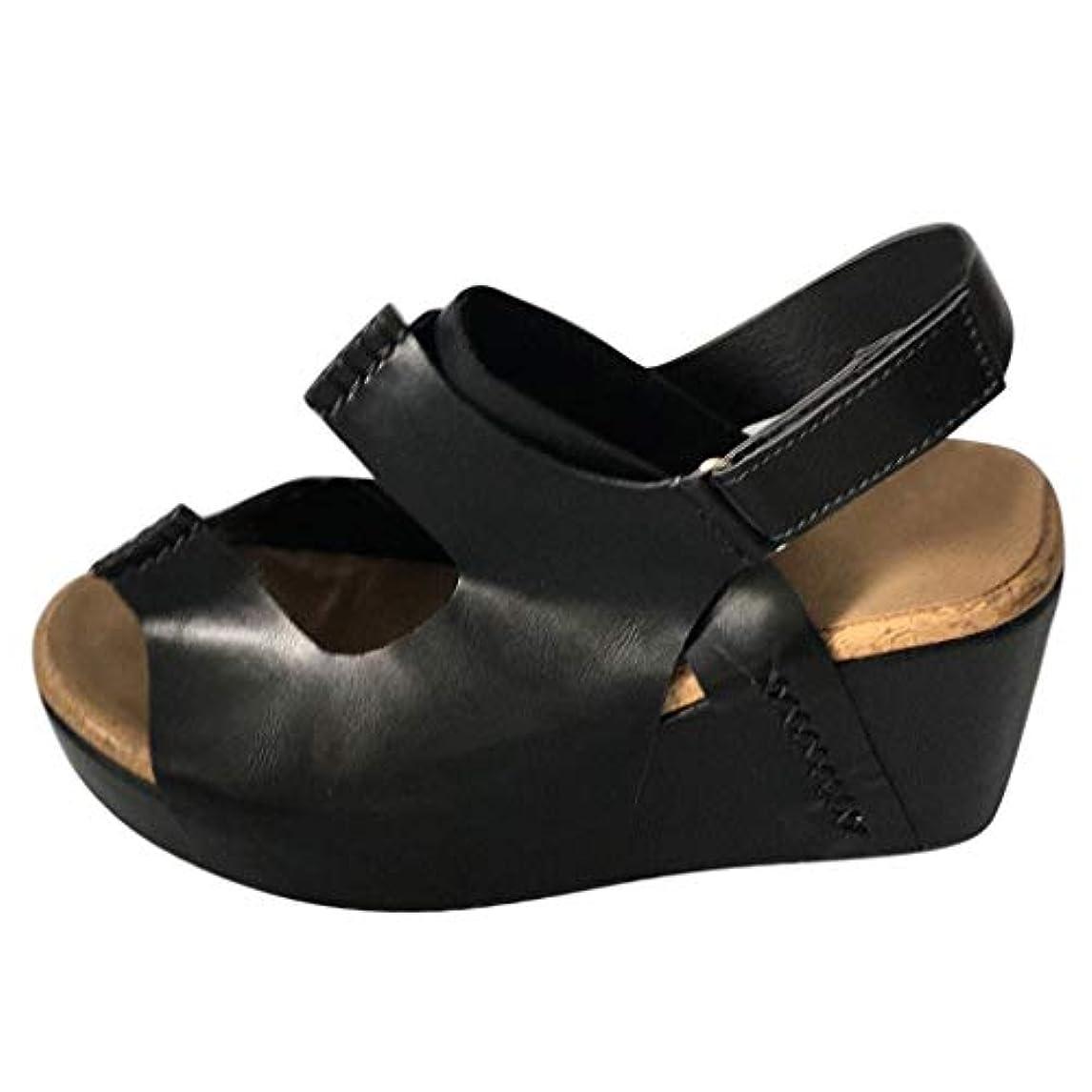 最初に告白北レディース サンダル Foreted ウェッジサンダル ファッション 厚底靴 レトロ ウェッジソール カジュアル 室内 日常 歩きやすい 美脚 ブラック ブラウン カーキ