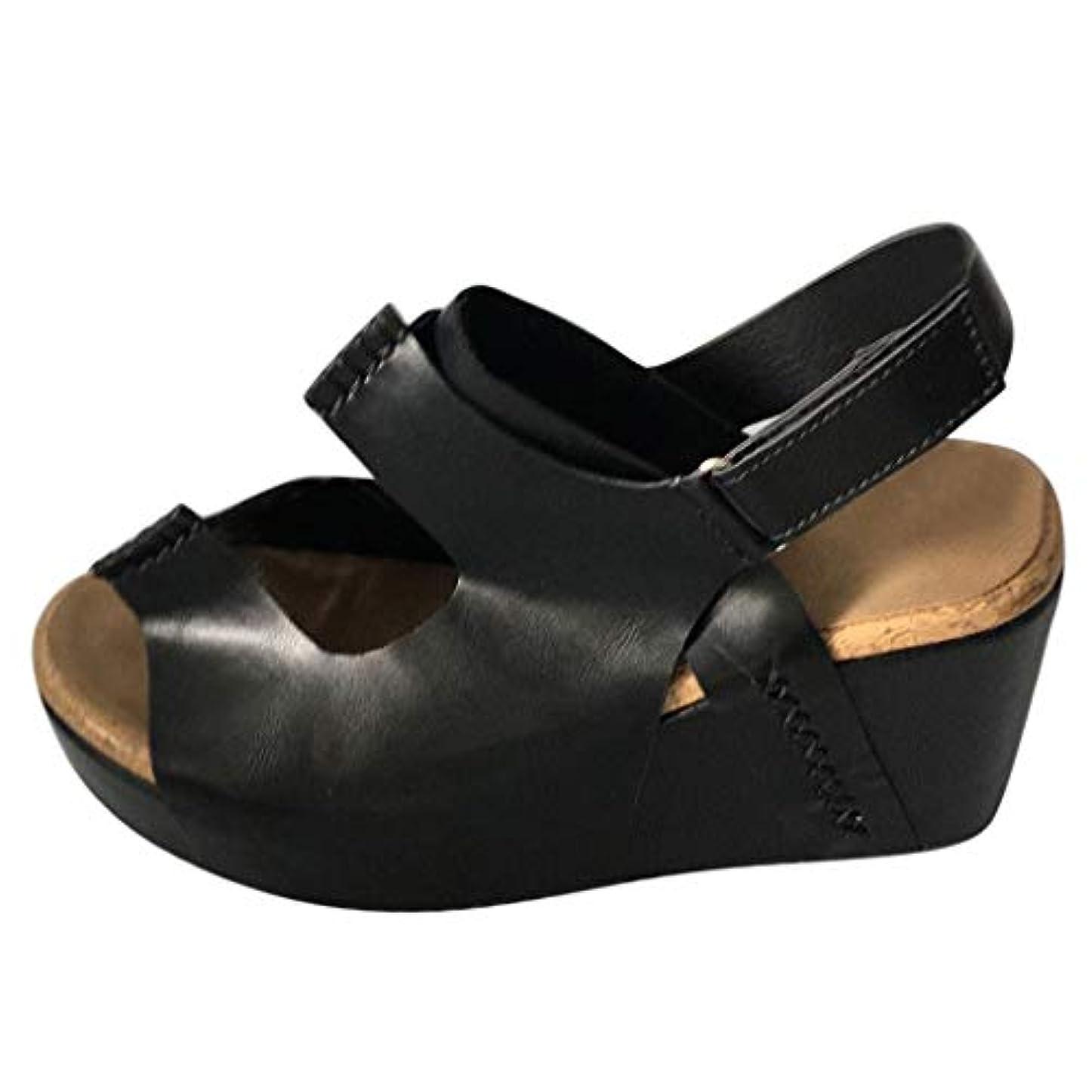 バリケード傷跡無駄なレディース サンダル Foreted ウェッジサンダル ファッション 厚底靴 レトロ ウェッジソール カジュアル 室内 日常 歩きやすい 美脚 ブラック ブラウン カーキ