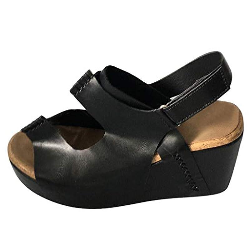 多様な港打たれたトラックレディース サンダル Foreted ウェッジサンダル ファッション 厚底靴 レトロ ウェッジソール カジュアル 室内 日常 歩きやすい 美脚 ブラック ブラウン カーキ