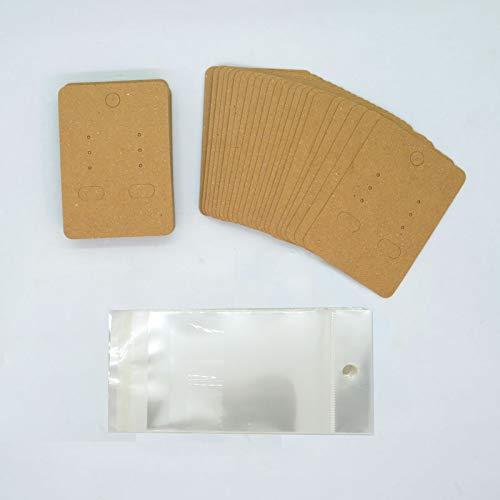 アクセサリー台紙 ヘッダー袋付き 100枚セット ディスプレイカード ピアス用台紙 ネックレスなどに