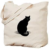 Basic Black Cat Canvas Tote Bag for Women Cute Eco-Friendly Reusable Natural Handbag