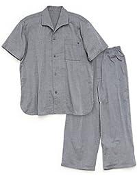 パジャマ屋 パジャマ 半袖 前開き ストレッチ 二重 ガーゼ メンズ