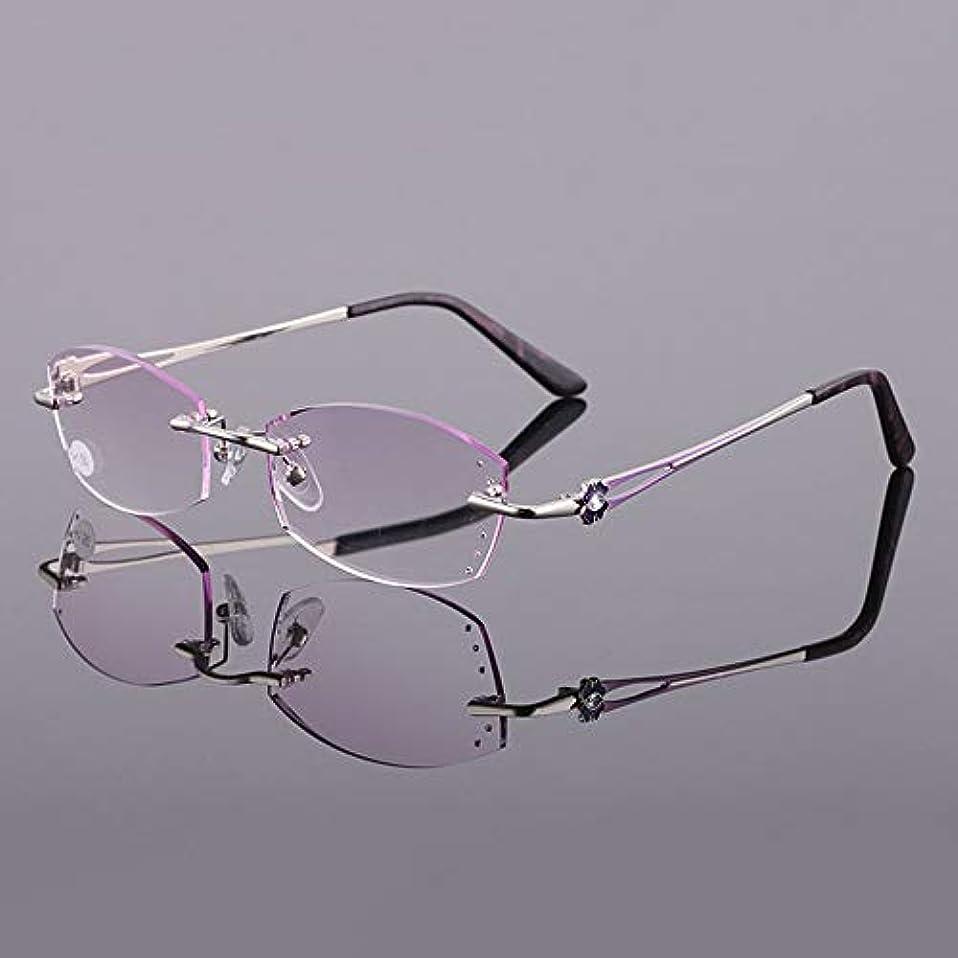 やけど表示免除する女性用抗疲労保護メガネ、 フレームレス老眼鏡、 グラデーションパープルウルトラライトレジンレンズ 耐摩耗性 高齢者のメガネ、 老眼に適しています