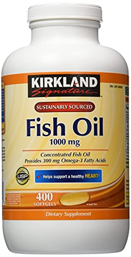 Kirkland Signature Omega-3 Fish Oil Concentrate, 800 Softgels, 1000 mg Fish Oil with 30% Omega-3s (300 mg) by...