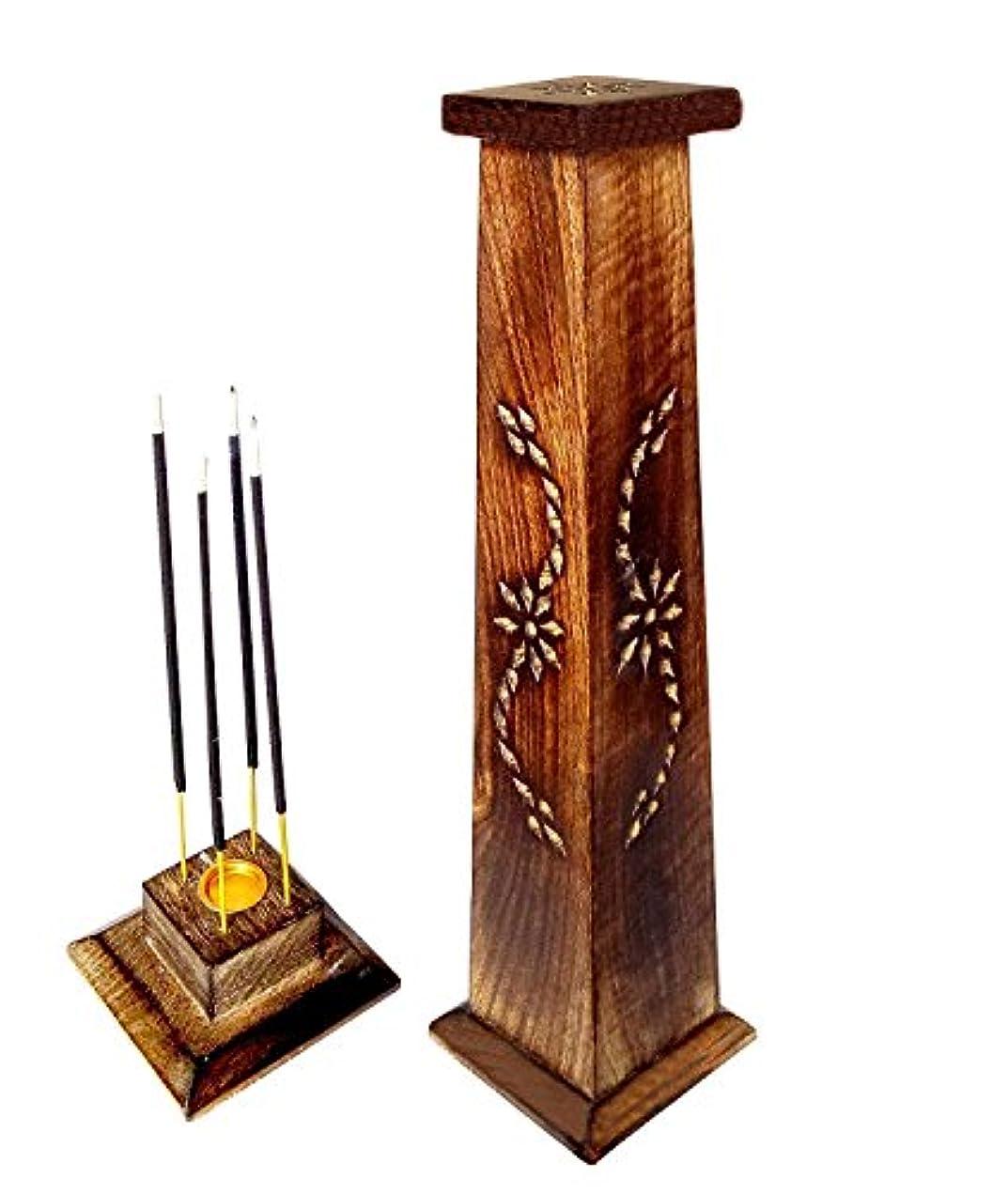 くつろぎ前書き受け取る木製香炉Ideal for Aromatherapy、禅、Spa、Vastu、レイキChakra Votive Candle Garden Incense Tower 12