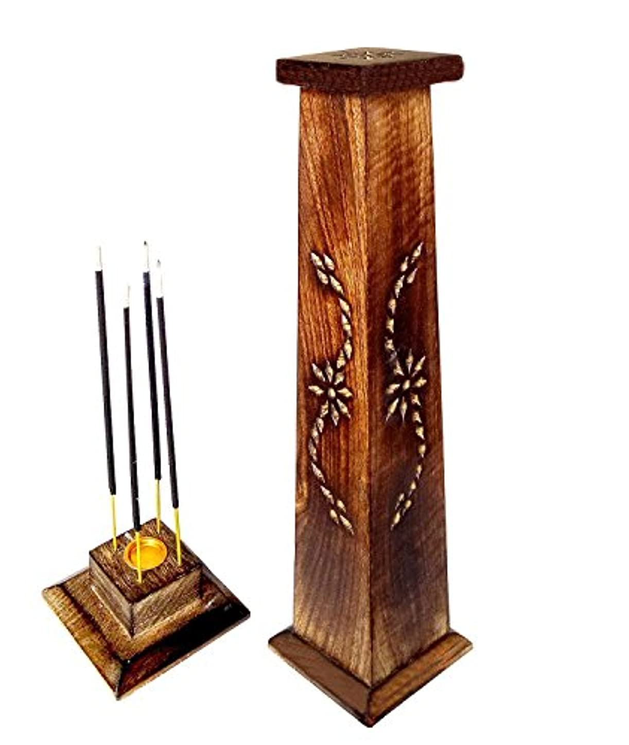 休日にエーカー中木製香炉Ideal for Aromatherapy、禅、Spa、Vastu、レイキChakra Votive Candle Garden Incense Tower 12