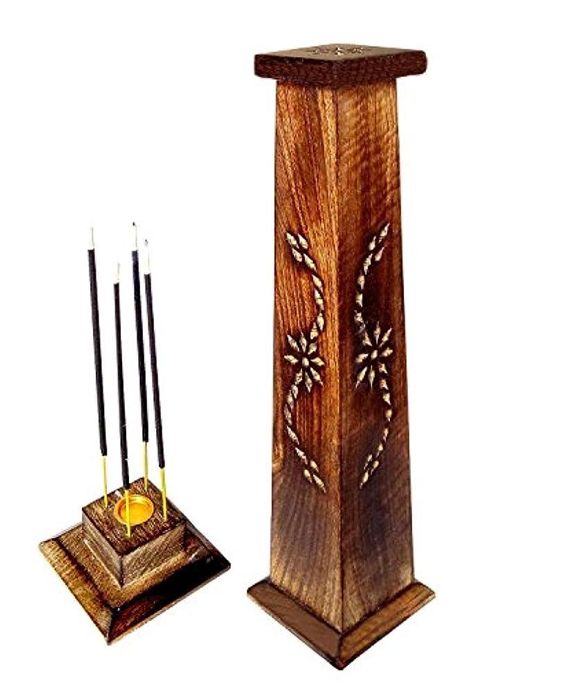マーガレットミッチェル剛性慣れている木製香炉Ideal for Aromatherapy、禅、Spa、Vastu、レイキChakra Votive Candle Garden Incense Tower 12