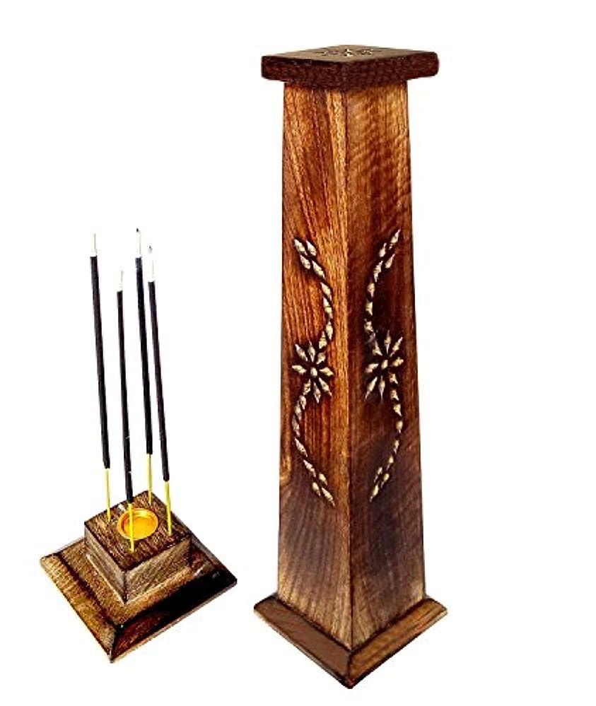 船員周辺安心させる木製香炉Ideal for Aromatherapy、禅、Spa、Vastu、レイキChakra Votive Candle Garden Incense Tower 12