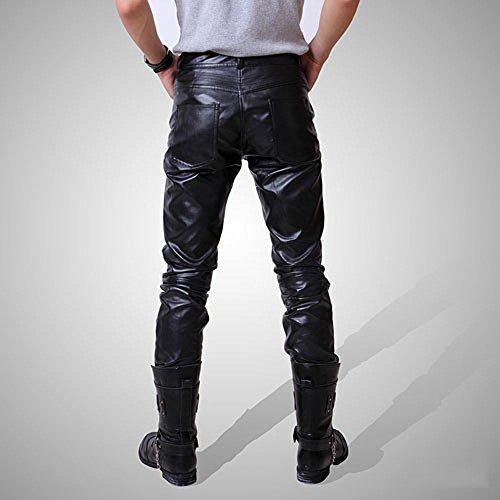 レザーパンツ メンズ フェイクレザー ブラック バイカー スキニー スリム 細身 スタイリッシュ 革パン おしゃれ ファッション 服 ライダースウェア M~XXXLサイズ (XL)