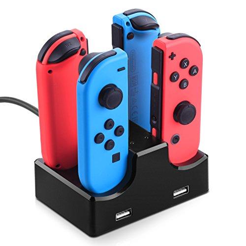 MYRIANN Nintendo Switch Joy-Con用 充電グリップ 4台同時に充電対応可 USBハブ2ポート ジョイコンチャージャー USBケーブル付 充電スタンド