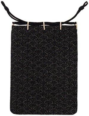 印伝巾着袋(本鹿皮)青海波