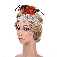 孔雀の羽飾り 女性のダイヤモンドブライダルフェザーヘアバンド布ぶら下げタッセルチェーンヘッドウェアウェディングヘアアクセサリー ヘアバンドウェディング (Color : Red, Size : One size)