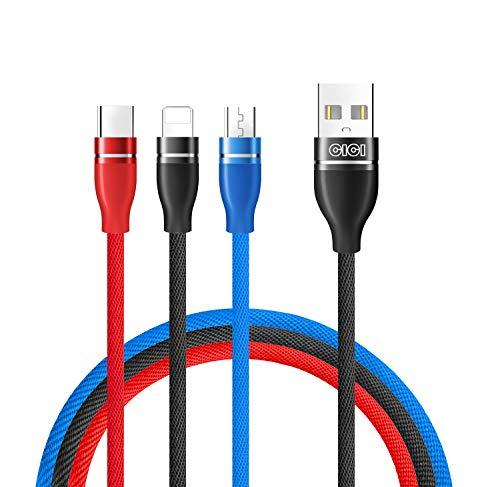 ライトニングケーブル Micro usb ケーブル Type c ケーブル 3in1 急速3.0A充電ケーブルCICINIO iOS/iphone/Android/Type C 同時充電三色ケーブル対応 iOS - iPhone と Android - Micro USB と Type-C 1.2m