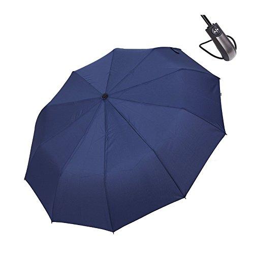 折り畳み傘 ワンタッチ自動開閉傘 HiViolet レディース 折りたたみ傘 メンズ 超強度重視 長傘 雨傘 日傘 晴雨兼用 軽量傘 10本骨 撥水加工 耐風 直径116cm 210T高密度NC布製 カバン収納 (ブルー)