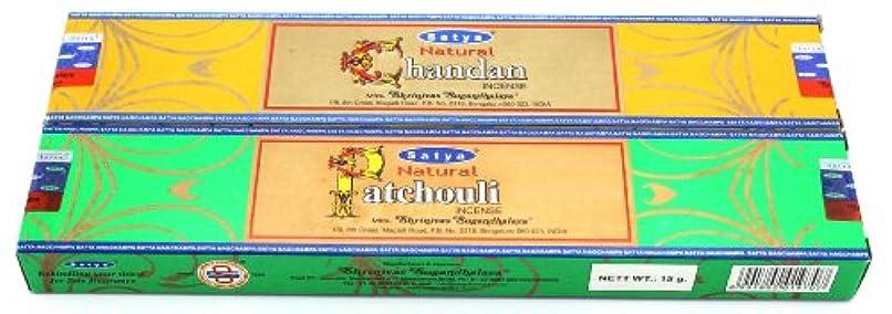 ケープ硬化する変形Satyaの自然のシリーズサンプラーIncense – Natural Chandan &天然パチュリ – 2 x 15グラム