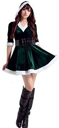 サンタ コスチューム フード付きワンピース コスプレ 衣装 ...