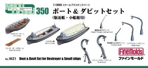 1/350 スケールプラスチックパーツ Nano Dread No.WZ1ボート&ダビットセット (駆逐艦・小艦艇用)