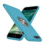 iPhone7 ケース/iPhone8 ケースリング付き シリコン 耐衝撃 スタンド機能 マグネット 車載ホルダー 指紋防止 軽量 スリム 薄型 スマホケース 一体型 人気 携帯カバー (ブルー)