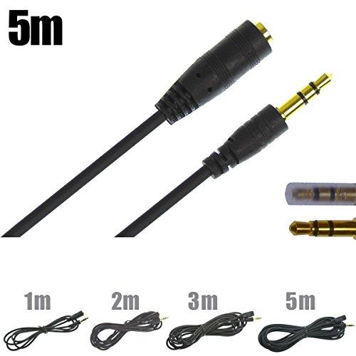 APS ANE:AUDIO ブラック 5m(500cm) ステレオミニプラグ ヘッドホン イヤホン 延長コード 延長ケーブル (オスメス) 金メッキ端子 プラグ径 3.5mm 3極タイプ 高品質しなやかな感触のシリコンゴムコード使い勝手が良いです。高純度銅線使用 さらに太目コード(径2.8mm)強くて安心! 黒 5m(500cm)