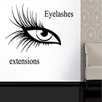 Xueshao アイラッシュアイウォールステッカー、Girls Eyes Extensionsアイボロービニールステッカー、美容院の装飾、メイクアップ窓ガラスデコ64X57Cm