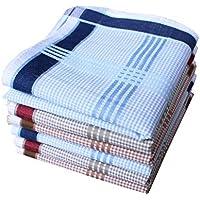 "Men's Cotton Handkerchief Classic Striped Pocket Handkerchiefs Size 17"""