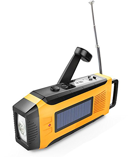 SOMECOOLソーラーサイレン付き手回し充電ラジオライト(2017モデル)オレンジ色単4電池に対応&内蔵電池2000mAh