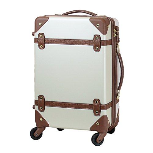 MOIERG(モアエルグ) キャリーバッグ YKK使用 軽量 かわいい スーツケース (M, オフホワイト)【81-80002-21】修学旅行