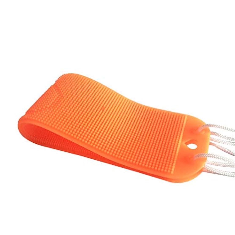 カーペットスラムカレッジHEALLILY バックスクラバー1個シリコンバスタオル角質除去ボディスクラバーシャワータオル、女性用男性用シャワー(オレンジ)