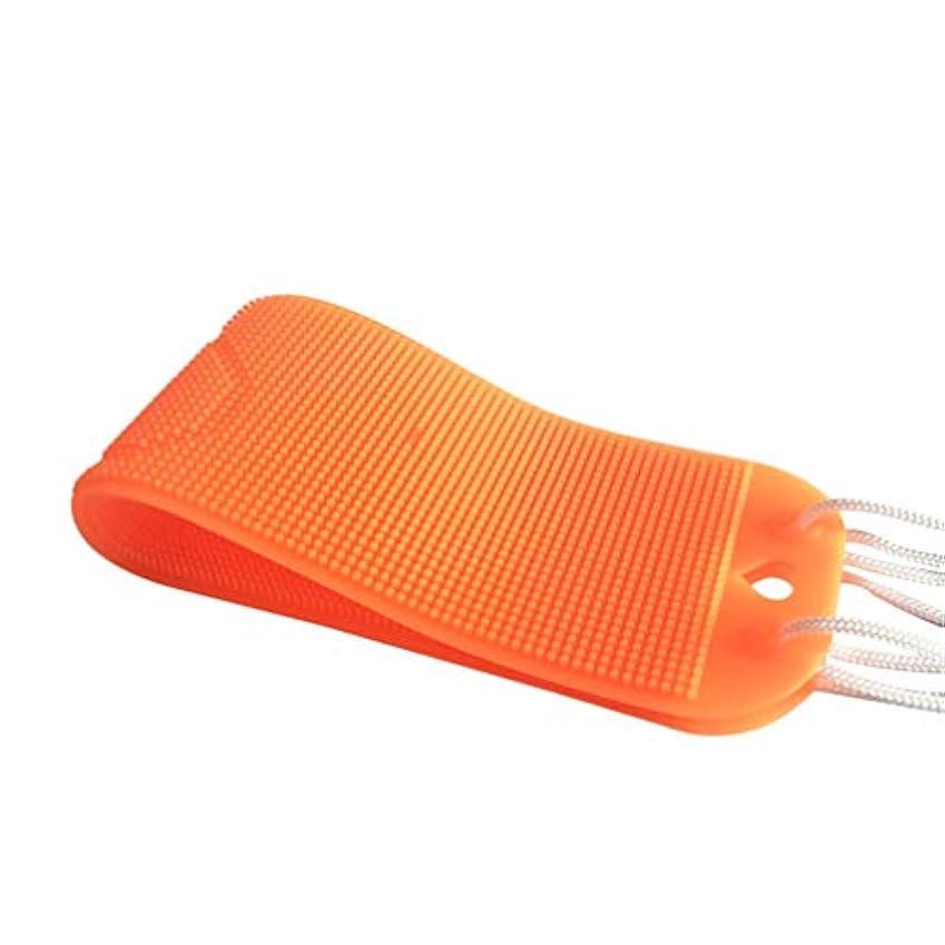 液体いじめっ子段階HEALLILY バックスクラバー1個シリコンバスタオル角質除去ボディスクラバーシャワータオル、女性用男性用シャワー(オレンジ)