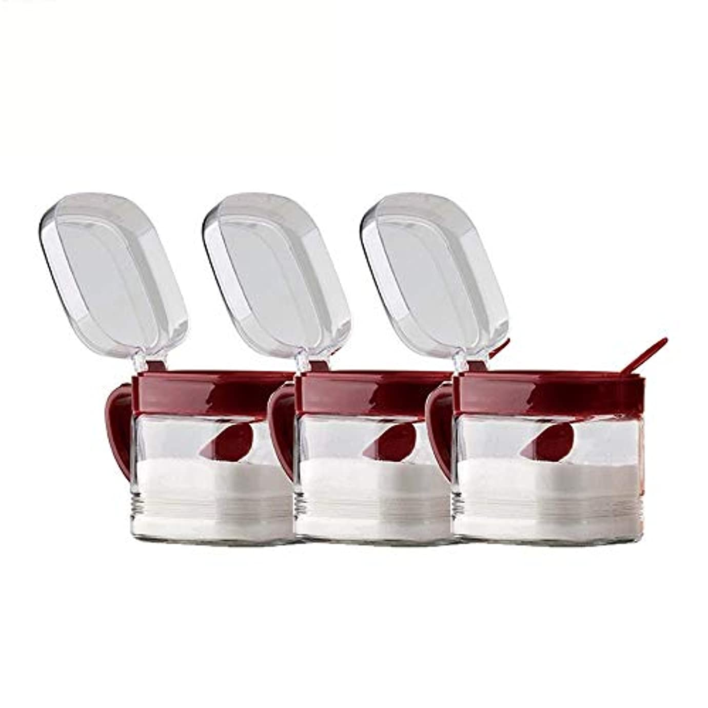 周り優雅伝染性HIZLJJ ミニクリップトップガラス瓶装飾容器調味料ボトルガラス調味料ボックス家庭用塩ポット砂糖MSG調味料ボトルソース収納ボックススパイスジャー