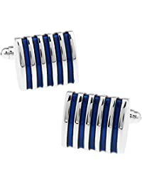 Bullidea 1 Pairs Cufflinks Nail Sleeve Shirt Suit Sleeve Buttons for Men Blue Stripes Gift Simple Button Jewellery Business Wedding Party Christmas Gift