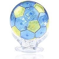 3Dクリスタルパズル サッカーボールトロフィー LED点滅 サッカーファンなら是非持ちたい インテリア モニュメント 【日本語取り扱い説明書付き】(ブルー)