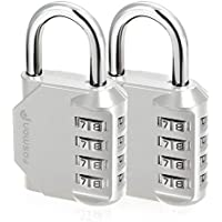 Fosmon Combination Lock (2 Pack) 4 Digit Combination Padlock with Alloy Body for School, Gym Locker, Gate, Bike Lock, Hasp and Storage - Silver
