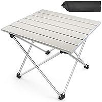 BESONTアウトドアテーブル アウトドア 折りたたみデスク アルミ合金 コンパクトに収納 丈夫 キャンプ用 収納袋付き(グレー)