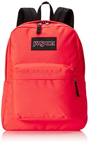 JanSport ブラックラベル スーパーブレイクバックパック - 蛍光レッド / 高さ16.7×幅13×奥行8.5インチ。