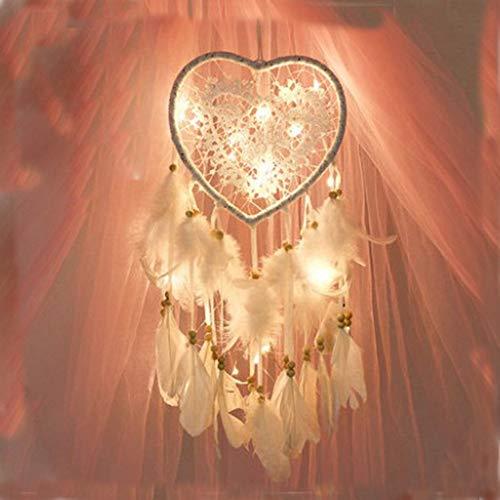 SODIAL Dream Catcher Love Heart Party Vintage LED Light Handmade White