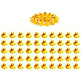 Sohapy 50Pcs Mini Yellow Rubber Ducks Baby Shower Rubber Ducks, Squeak Fun Baby Yellow Rubber Bath Toy Float Fun Decorations