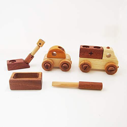 スプソリ 木のおもちゃ 知育玩具 工具で組立あそびセット 車2個セット 木製ボルトとドライバーで色々な車を作ろう