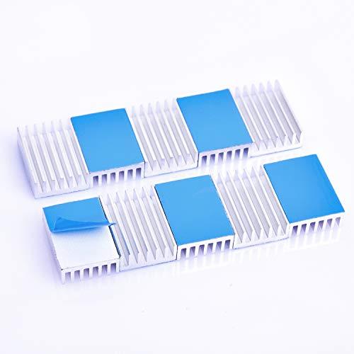 熱伝導性両面テープ付き 熱暴走対策 L20mm X W14mm X H6mm 10個入り 冷却フィン アルミニウム製 放熱板 ファイア テレビ DIYキット ICチップ MOSFET 回路基板 ハイパワーLEDアンプに適用