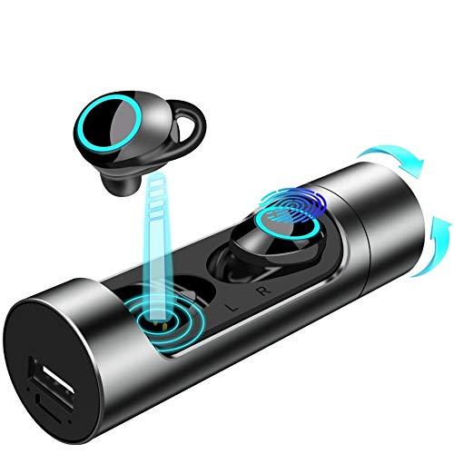ワイヤレス イヤホン bluetooth 5.0 自動ペアリング 完全 ワイヤレスイヤホン 防水 IPX7 高音質 ヘッドセット重低音 スポーツ イヤホン マイク 左右分離型 音量調整 超大容量充電ケース付き Siri対応 日本語説明書 iPhone Android 対応