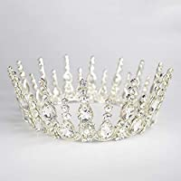 Stylish and Elegant Crown Princess Crown Crystal Big Hoop Crown Performances Birthday Party Senior Royal Treasures Luxury Hair Accessories Headdress Children wsd (Couleur du métal : Plaqué Argent)