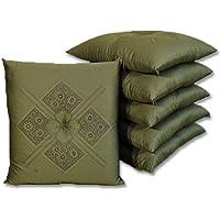 座布団 八端判 ふくれ織り セット 5枚組 側59×63 (緑)