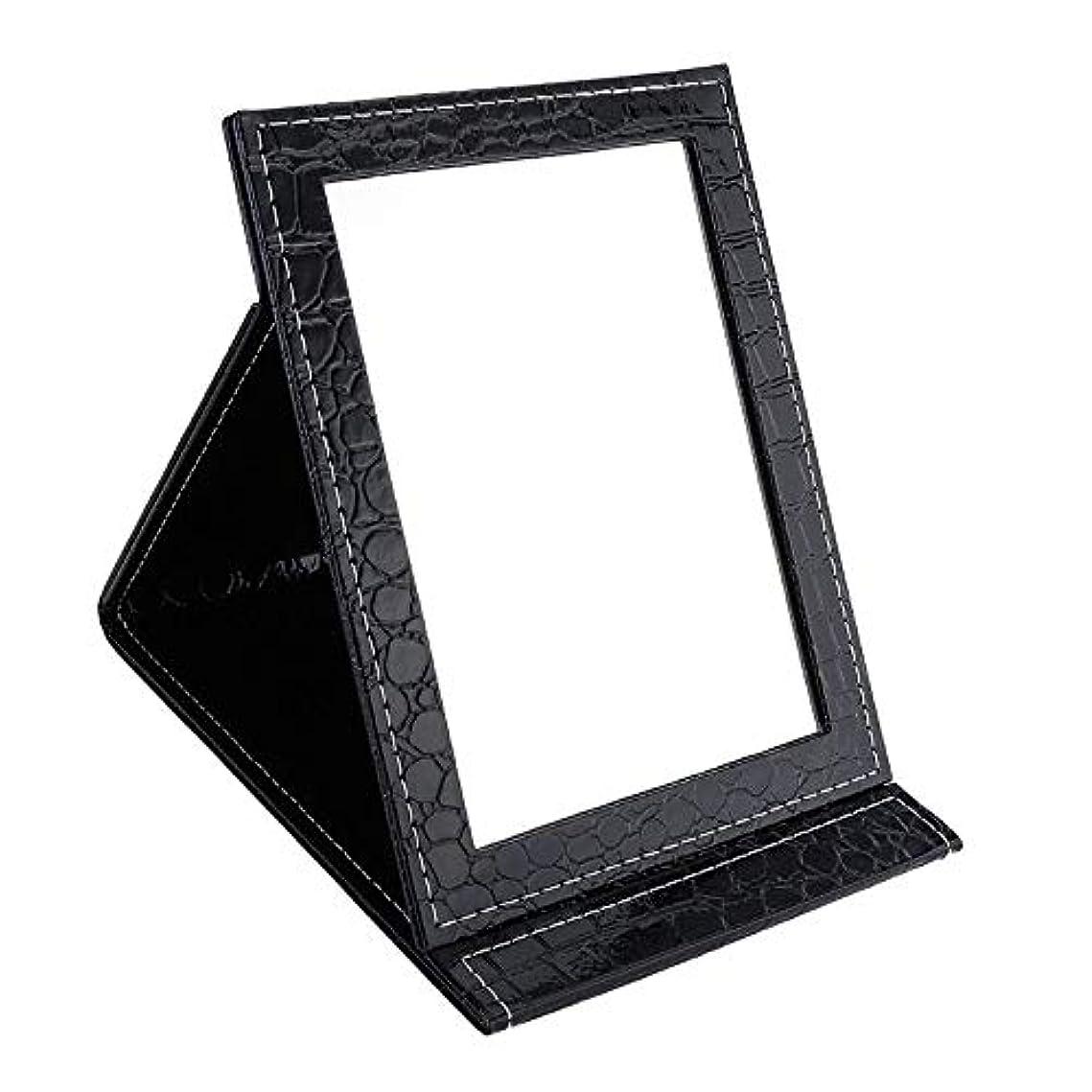 浴改修ドットYummyBuy 化粧ミラー 折りたたみ ミラー 鏡 卓上 化粧 化粧鏡 角度調整自由自在 上質PUレザー使用(クロコダイル?パターン、2サイズ) (大きなサイズ, ブラック)