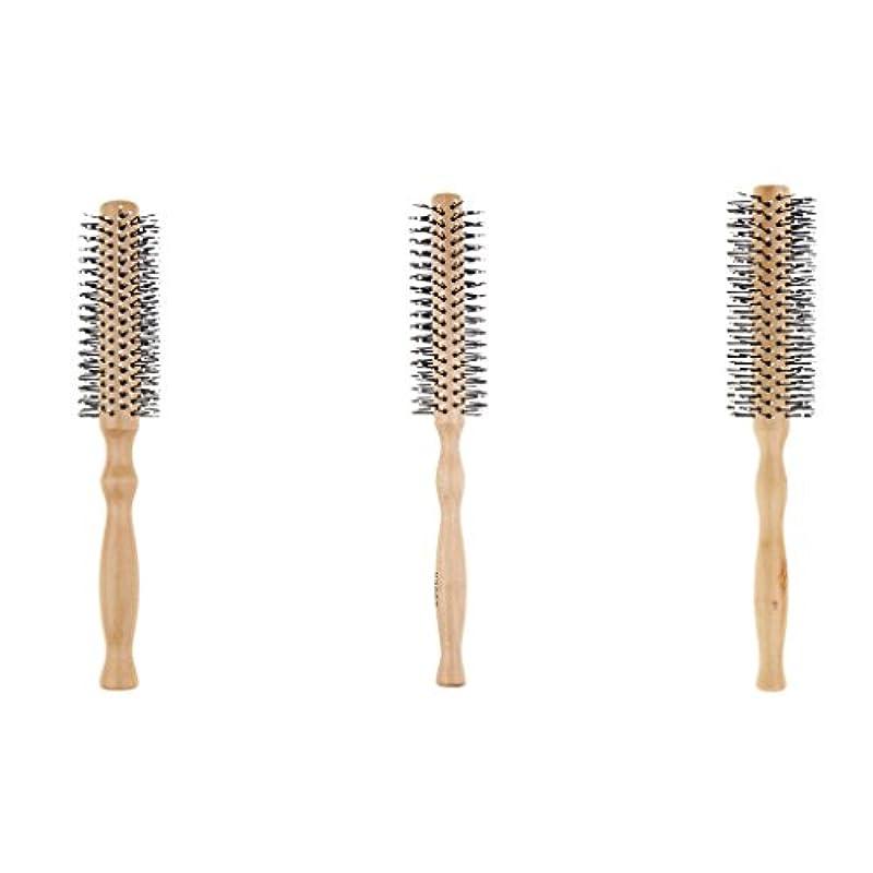黙違反くるくる3本セット ロールブラシ ヘアブラシ 木製櫛 スタイリングブラシ 巻き髪 静電気防止
