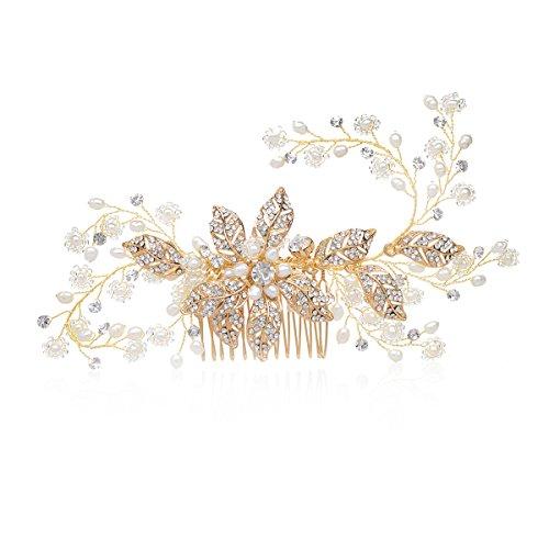 [해외]SWEETV 화려한 고급 라인 스톤 나뭇잎 인공 진주 신부의 액세서리 티아라 웨딩 파티 골드 톤/SWEETV gorgeous fine rhinestone Konoha artificial pearl bridal accessory Tiara wedding party gold tone