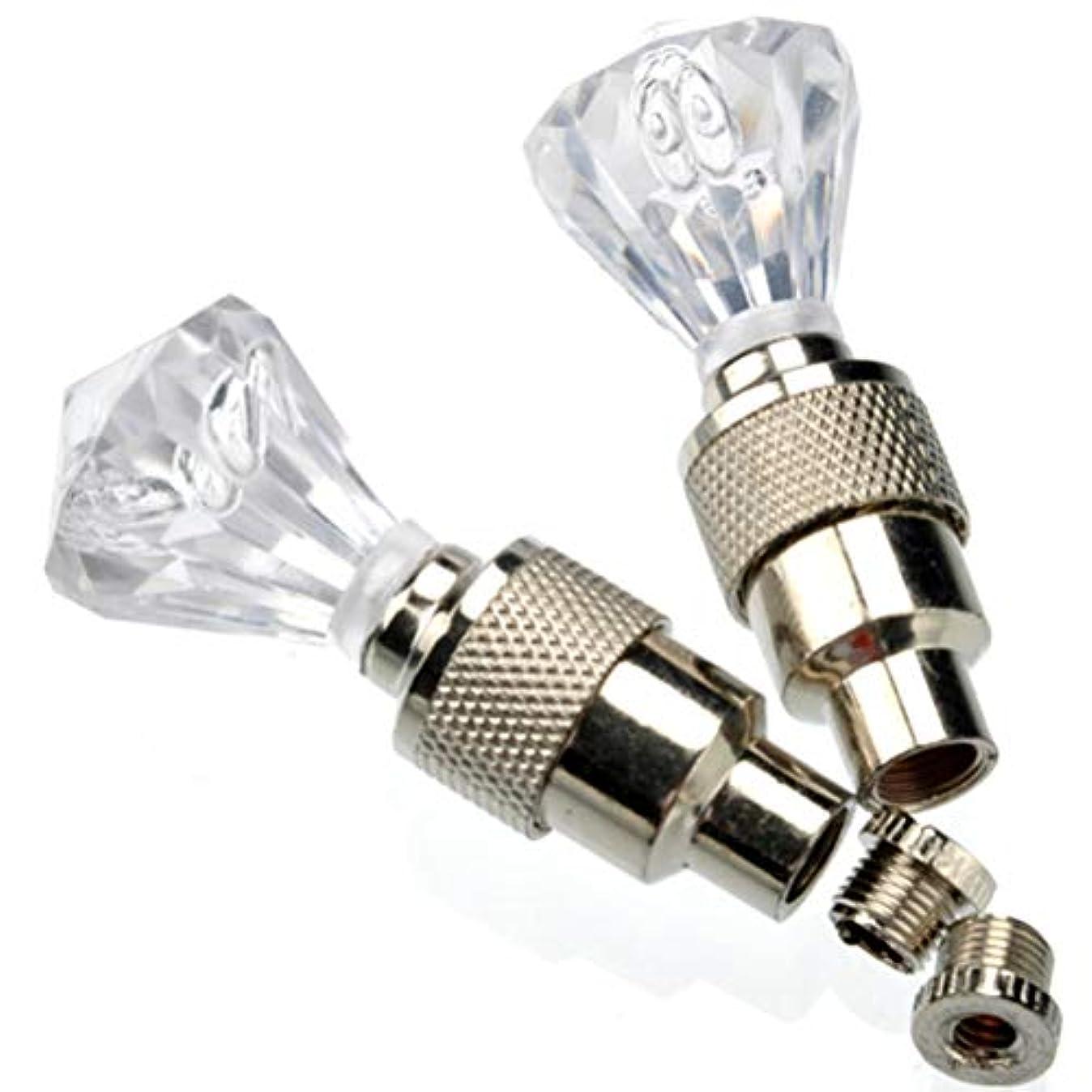 繰り返した同盟突き刺すWINOMO ダイヤモンド型 フラッシュ バルブ シーリング キャップ LEDライト 自転車 バイク 自動車タイヤ用 (白)
